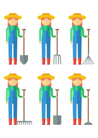 plant stand: Set of farmer woman dressed in boots, hat, overalls, shirts with gardner equipment. Objects isolated on background. Flat and cartoon vector illustration.