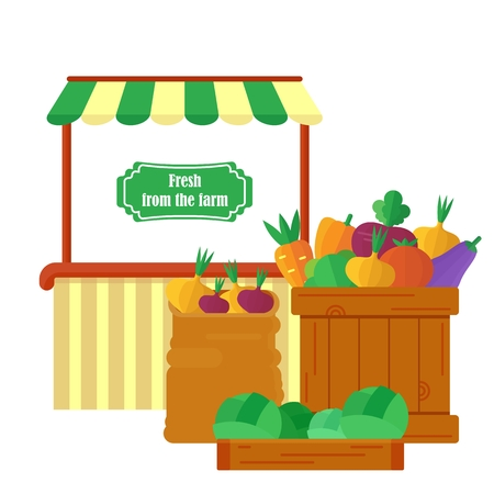 super market: Tent farm shop. Sale of fresh vegetables. Fresh vegetables in boxes and bags. Vegetarian healthy food. Objects isolated on background. Flat and cartoon vector illustration.