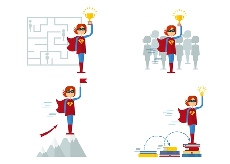 Set of images of female superhero. The characters on the theme of business, education, success, victory in the competition. Objects isolated on white background. Flat cartoon vector illustration. Illustration