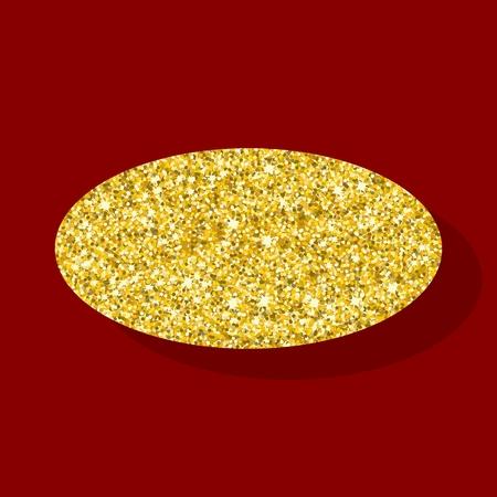 ellipse: elipse de oro. Elemento para tarjetas de felicitación para la boda, año nuevo, cumpleaños, fiesta, celebración. ilustración vectorial plana. Los objetos aislados sobre un fondo.