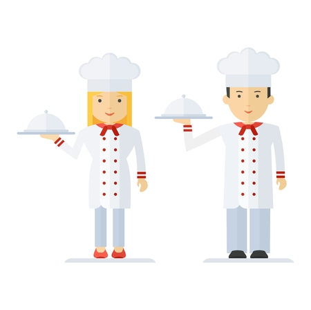 culinary skills: Chef man and woman in a chef hat. Keep holding a tray of food. For menu card, brochure, presentation for restaurant and cafe. Objects isolated on white background. Flat cartoon vector illustration.