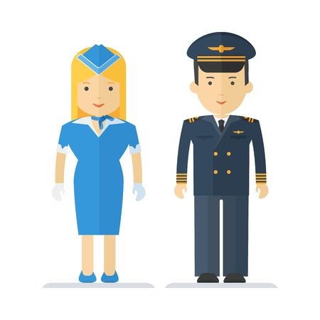 The pilot and stewardess in uniform. The characters on theme of civil aviation, aircraft and airport maintenance and service. Objects isolated on white background. Flat cartoon vector illustration. Illustration