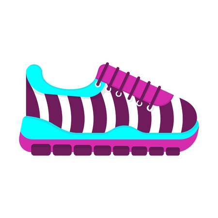 Color fashionable sneakers. Cartoon flat vector illustration. Objects isolated on a white background.
