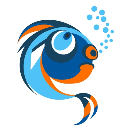 Funny bright brooding fish. Objects isolated on white background. Flat cartoon vector illustration.