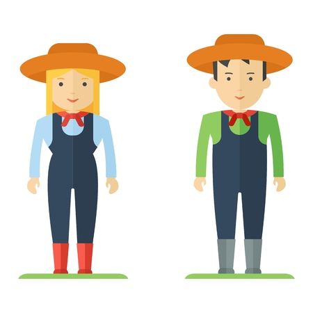 work wear: Farmer man and a woman. Characters on profession farm and local market. People in uniform and work wear, staff. Objects isolated on white background. Flat cartoon vector illustration.