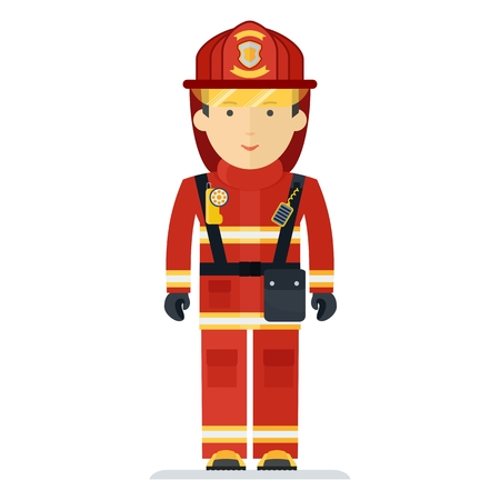 Firefighter in protective clothing with the equipment. Characters on profession, fire protection, rescue of victims on fire. Objects isolated on white background. Flat cartoon vector illustration. Illustration
