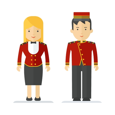 Porter and hostesses in uniform. Characters on profession, hotel, staff, work wear, protective clothing. Objects isolated on white background. Flat cartoon vector illustration.