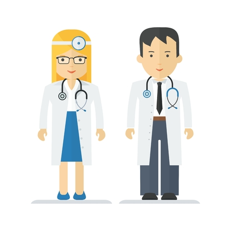 work wear: Medical officer men and women. Characters on profession, medicine, hospital staff, service and maintenance, work wear. Objects isolated on white background. Flat cartoon vector illustration. Illustration