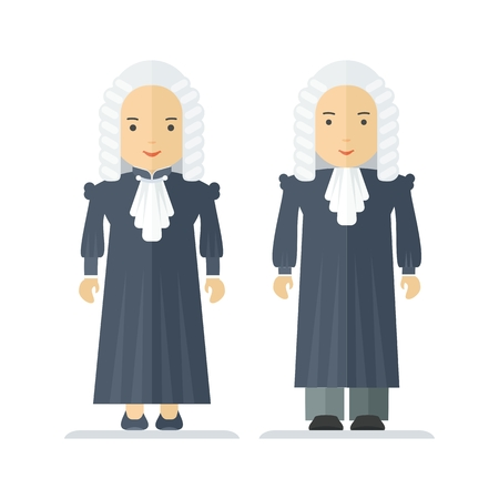 wig: Judge a wig, man and a woman. Characteristic for the process of the court and the protection rights of citizen. Objects isolated on white background. Flat cartoon vector illustration. Illustration
