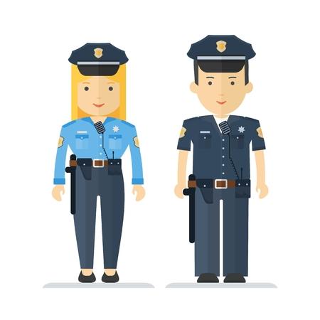 femme policier: Le policier et une polici�re. Les personnages sur la profession, la loi et l'ordre et la protection de la s�curit�. Objets isol� sur fond blanc. dessin anim� plat illustration vectorielle.