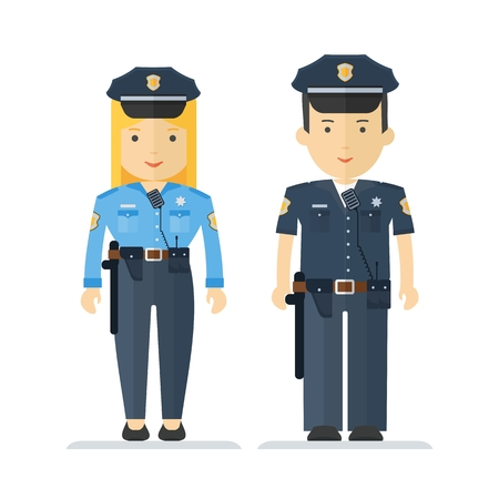 policewoman: Policeman and a policewoman. The characters on the profession, law and order and security protection. Objects isolated on white background. Flat cartoon vector illustration. Illustration