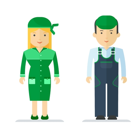personal protective equipment: A man and a woman in working clothes service sector. Characters on the profession, delivery and cleaning. Work wear for staff. Objects isolated on white background. Flat cartoon vector illustration.