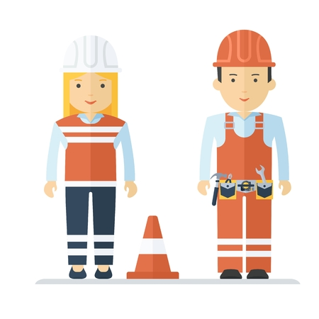 safety equipment: Man and woman in a bright reflective work clothes. Characters on the profession, repair and road construction, uniform, staff. Objects isolated on white background. Flat cartoon vector illustration. Illustration