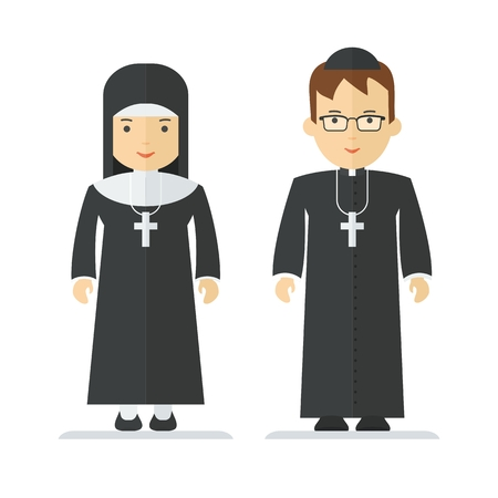 Catholic priest and nun. Objects isolated on white background. Flat cartoon vector illustration.