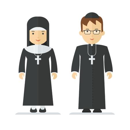 Catholic priest and nun. Objects isolated on white background. Flat cartoon vector illustration. Illustration