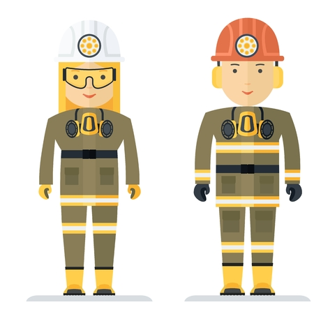 workwear: Miners woman and a man in working clothes. Characters for the image profession in workwear and uniforms. Objects isolated on white background. Flat cartoon vector illustration.