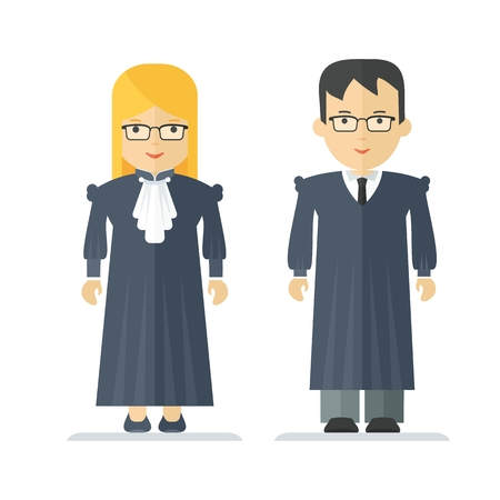 Judge a man and a woman. Characteristic for the process of the court and the protection rights of citizen. Objects isolated on white background. Flat cartoon vector illustration.