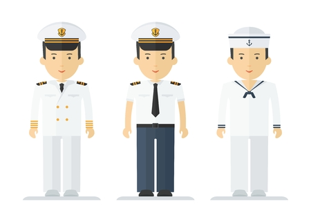 mariner: Set of sailor man in uniform. Objects isolated on white background. Flat cartoon vector illustration.