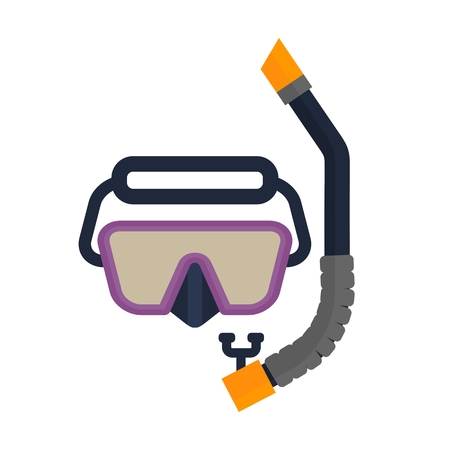 Snorkel scuba mask. Set of diving equipment. Objects isolated on background. Flat and cartoon vector illustration.