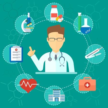 Geneeskunde gezondheidszorg concept. Medische infographics elementen. Cartoon plat vector illustratie. Objecten geïsoleerd op een witte achtergrond. Stock Illustratie