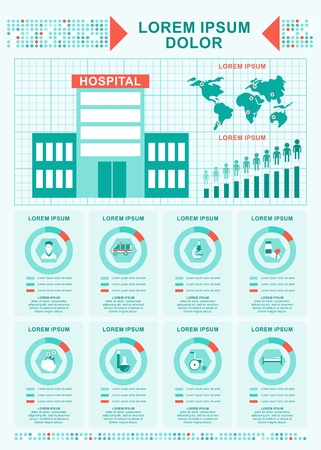 public health: Improving care in hospitals. World statistics. Elements of infographics on medicine, public health and service. Objects isolated on white background. Flat cartoon vector illustration.
