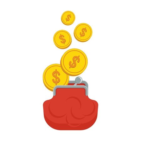gold bar earn: Purse with gold coins. Objects isolated on white background. Flat cartoon vector illustration. Illustration