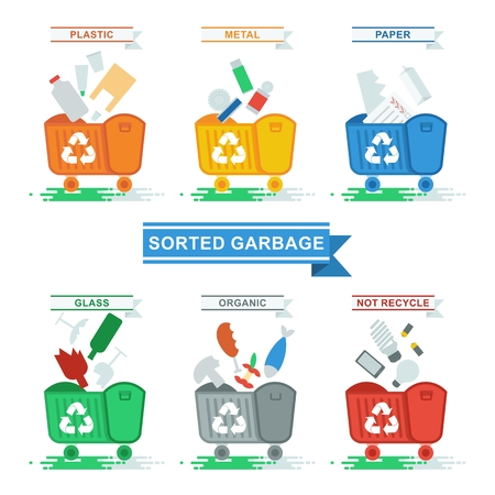 Set of containers for separate waste collection. Objects isolated on white background. Flat cartoon vector illustration.