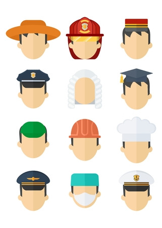 Set of hats of different professions. Work wear and uniform element icons. Objects isolated on white background. Flat cartoon vector illustration.