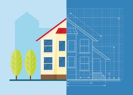 Estructura metálica que drenan el modelo de la casa clásica. Objetos aislados sobre fondo blanco. ilustración vectorial de dibujos animados plana.