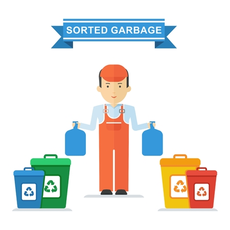 hazardous waste: Set of containers for separate waste collection. Objects isolated on white background. Flat cartoon vector illustration.