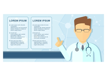 Template flyer on medicine, health care, service. Cartoon flat vector illustration. Objects isolated on a white background. Illustration