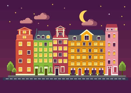 brick house: Multicolored beautiful residential apartments at night. City landscape with night sky, the moon, the stars. Objects isolated on white background. Flat cartoon vector illustration. Illustration