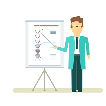 Doctor reports about DNA formula. Presentation on the flipchart paper. Template for medical conferences, symposia, congresses. Objects isolated on white background. Flat cartoon vector illustration.