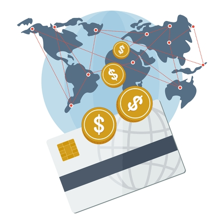 The global payment system. Bank card, cash and non-cash payments. The financial system and security. Objects isolated on white background. Flat cartoon vector illustration.