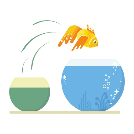 goldfish jump: Goldfish jumping out of the dirty little fishbowl to another aquarium with clean and clear water. Objects isolated on white background. Flat cartoon vector illustration.