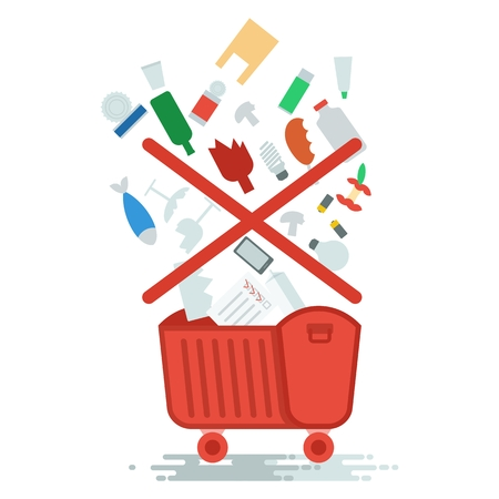 hazardous to the environment: Collection of household waste. Improper garbage disposal. Objects isolated on white background. Flat cartoon vector illustration. Illustration