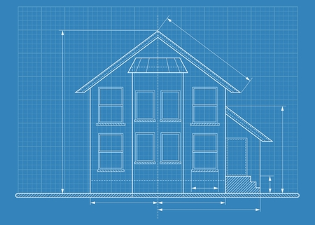 Wireframe blueprint drawing of classic house. Objects isolated on white background. Flat cartoon vector illustration.