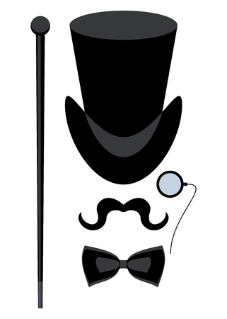Vintage silhouette of top hat, mustaches, monocle, cane and a bow tie. Cartoon flat vector illustration. Objects isolated on a white background. Ilustração