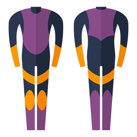 wetsuit: Wetsuit for diving. Cartoon flat vector illustration. Objects isolated on a white background.