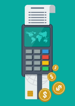 bank transfer: The global payment system. Payment terminal, bank transfer. The financial system and security. Objects isolated on white background. Flat cartoon vector illustration.