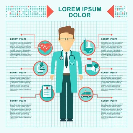 医学医療のコンセプトです。医療インフォ グラフィック要素。オブジェクトを白い背景に分離します。フラット漫画のベクトル図です。