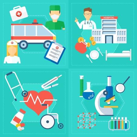 医学と医療サービスのインフォ グラフィックの要素です。オブジェクトを白い背景に分離します。フラット漫画のベクトル図です。