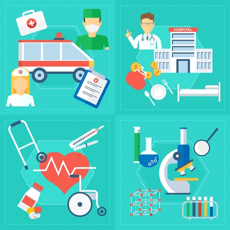 Elements of infographics on medicine and health care and service. Objects isolated on white background. Flat cartoon vector illustration.
