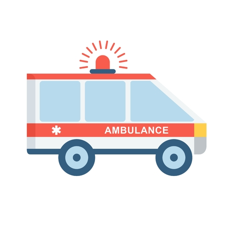 sick leave: Emergency car. Medical infographics elements. Objects isolated on white background. Flat cartoon vector illustration. Illustration