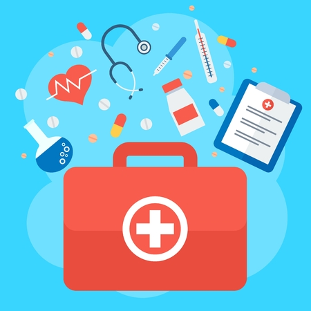 sick leave: Emergency suitcase. Medicine healthcare services concept. Medical infographics elements. Objects isolated on white background. Flat cartoon vector illustration.