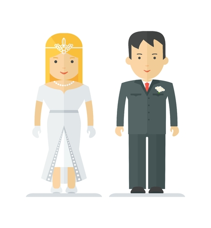 newlywed: Happy young newlywed couple. Family and harmonious relationship. Objects isolated on white background. Flat cartoon vector illustration. Illustration