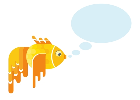 Goldfish sends a message. Objects isolated on white background. Flat cartoon vector illustration.