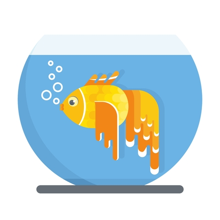 Goldfish live in a glass aquarium with blue transparent waters. Objects isolated on white background. Flat cartoon vector illustration.