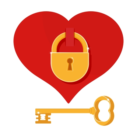 door lock love: Heart on the lock with key. Cartoon flat vector illustration. Objects isolated on a white background.