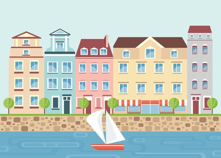 Multicolored beautiful residential apartments on the waterfront. City landscape with the river, boat, trees. Objects isolated on white background. Flat cartoon vector illustration.